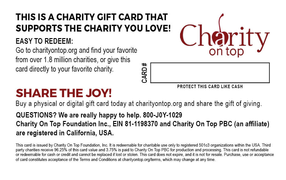Back of Charity On Top Gift Card
