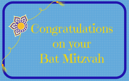 Congratulations on your Bat Mitzvah blue and gold