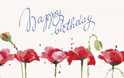 Watercolor Birthday Poppies