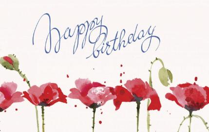 Watercolor Birthday Poppies